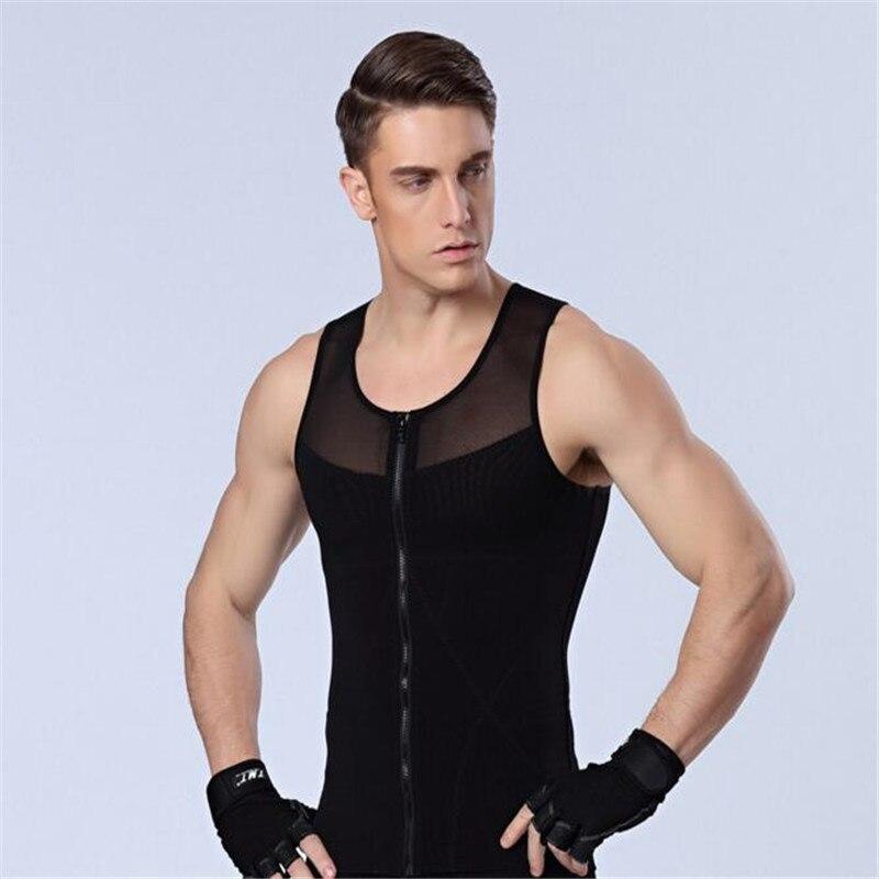 2017 New Men's Body Shapers Vest,Strong Compression Underwear,Men's Body Shapers Tights Front Zipper Vest.