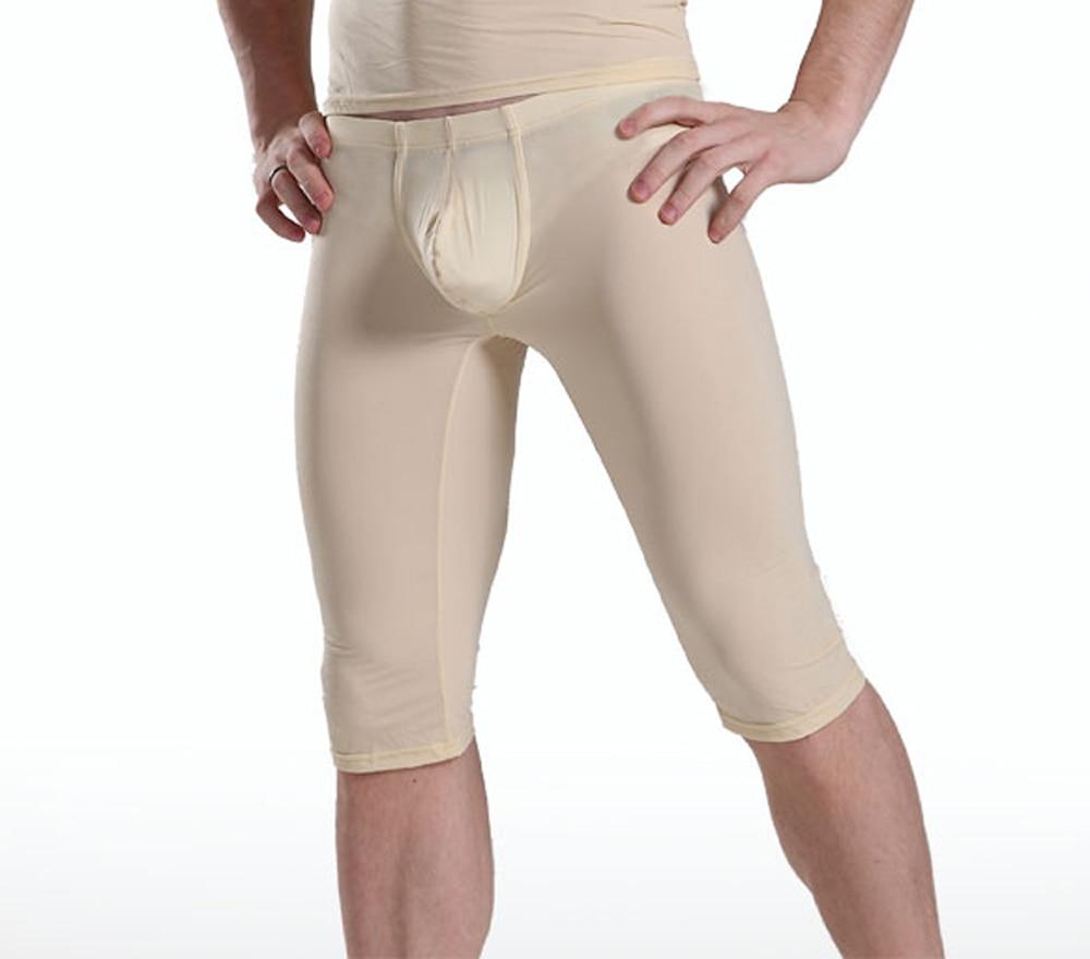 Men Capris Sexy Transparent  Ice Silk Pants Low Waist Five Pants Sexy Tight Convex Pouch Pocket Pajama Breathable Trousers 1PCS