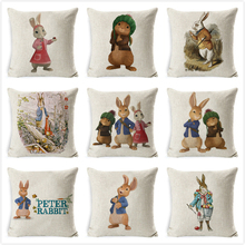 Peter Rabbit Cushion Cover Polyester Pillow Animal Case for Home Sofa Decorate Throw Pillowcase housse coussin