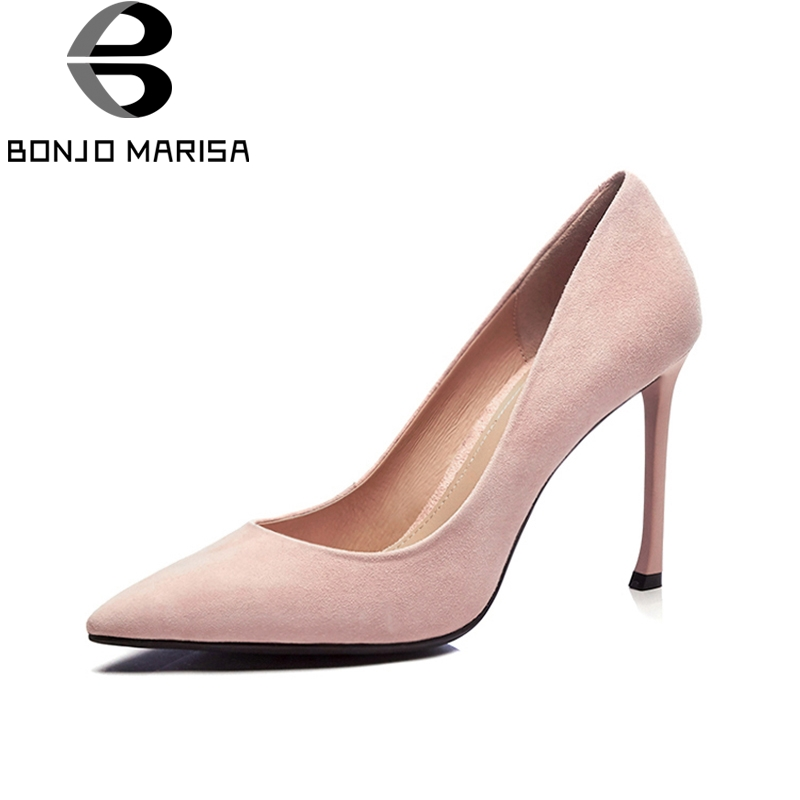 BONJOMARISA 2018 Top Quality Brand Shoes Woman Sexy Thin High Heels Slip On Kid Suede Leather Party Wedding Shoes Pumps Women bonjomarisa 2018 summer brand sexy women mules print patent leather pumps crystal high heels party wedding shoes woman