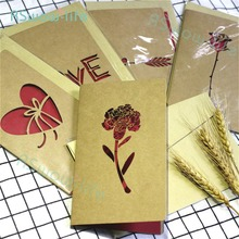 Love Greeting Card Creative Retro Kraft Laser Father's Day Birthday Wishes Greeting Card Festival Party Supplies love folding greeting card father s day greeting creative card thanksgiving birthday blessing gift festival party supplies