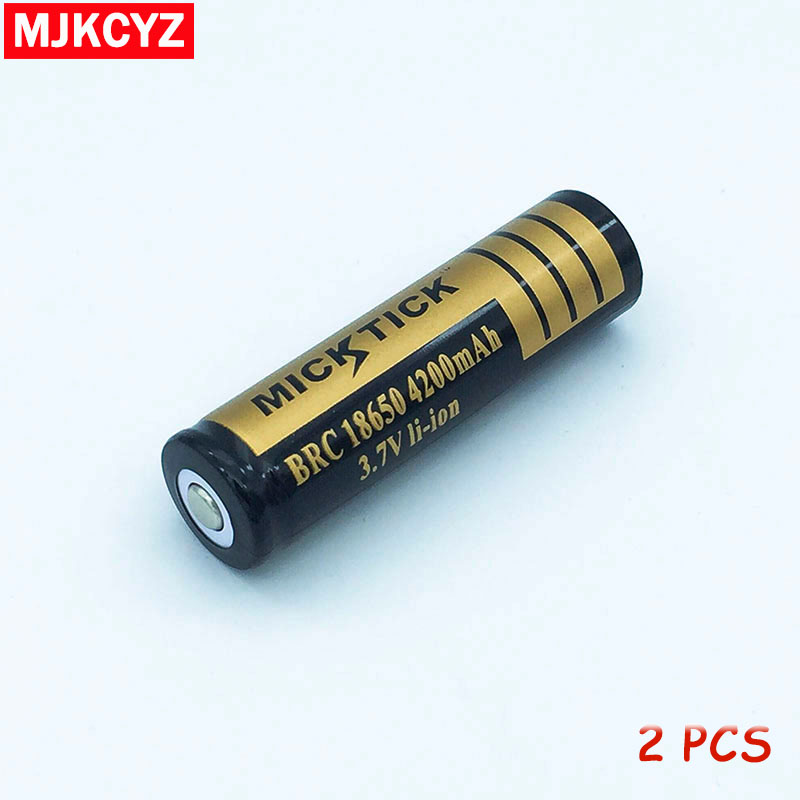 2Pcs 3 7V 18650 4200mAh Battery lithium Li Ion Rechargeable Large Capacity Batteries battaries Flashlight red
