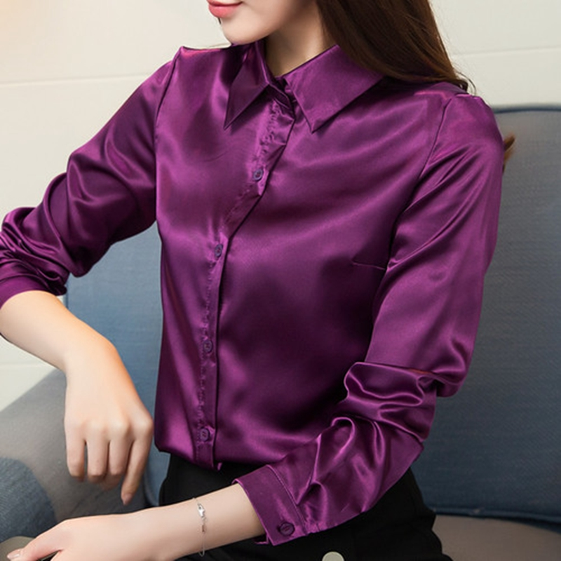 Stinlicher Satin Silk Shirt Women Autumn Long Sleeve Elegant Work Wear Tops Korean Fashion Purple Green Blue Blouse Shirt