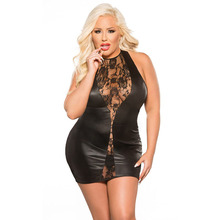 Wonder Beauty Plus Size 6XL Gothic Lace Floral Hollow Out Black Vinyl Night Bar Clubwear Women Sleeveless Sexy Leather Dresses