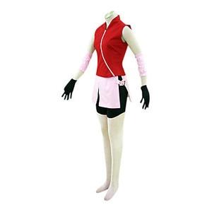Image 2 - Can be tailored Anime NARUTO Cosplay Man Woman Halloween Cos Haruno Sakura Cosplay Costume top+skirt+pants+gloves