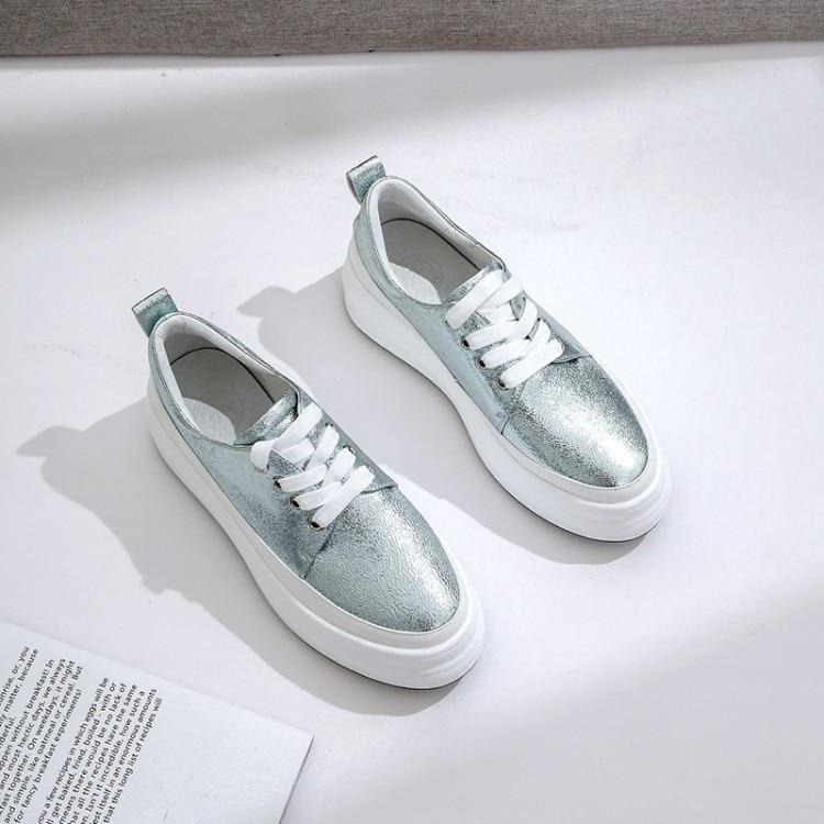 MLJUESE 2019 zapatos planos de mujer de piel de oveja con cordones de plataforma de color azul mocasines zapatos casuales creeper zapatos tamaño 34 42 fiesta vestido-in Zapatos planos de mujer from zapatos    1