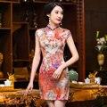 New Women's Mini Cheongsam Satin Qipao Traditional Chinese Classic Style Dress Flower Mujer Vestido Size S M L XL XXL 245989