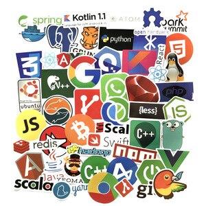 Image 1 - Pegatinas de programación para coche y portátil, pegatinas de programación con logotipo de aplicaciones en la nube, con diseño de Bitcoin, compatible con Java JS, Linux, Docker, 50 Uds.