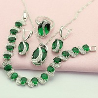 WPAIKYS Trendy Green Created Emerald Silver Plated Jewelry Sets For Women Earrings Bracelet Necklace Pendant Ring