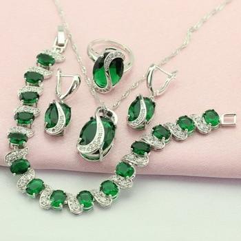 e257d6a57b3a Wpaitkys verde creado Esmeralda plata esterlina 925-Juegos de joyería para  las mujeres Pendientes collar pulsera anillo colgante caja de regalo libre