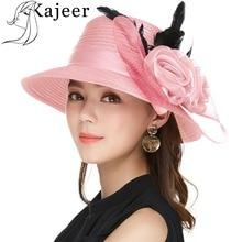 Kajeer Elegant Women Summer Autumn Bucket Hats Female Big Feather Mesh Decorate Bowler Church Hat Pink Net Yarn Cap UV rays