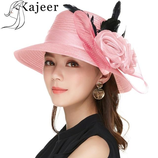 088605ca55 Kajeer Elegant Women Summer Autumn Bucket Hats Female Big Feather Mesh  Decorate Bowler Church Hat Pink Net Yarn Hats Cap UV rays
