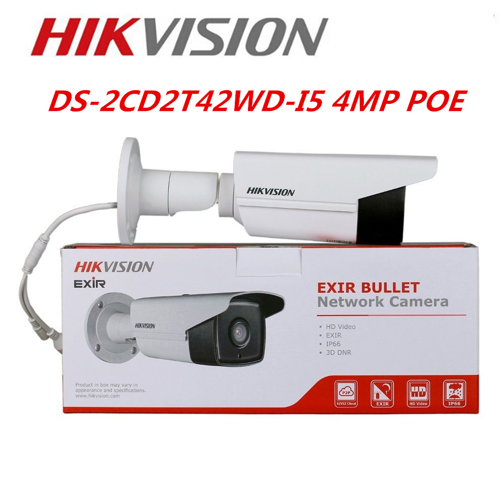 Hikvision 4MP POE IP Camera  IR 50m For Outdoor IPC web cam DS-2CD2T42WD-I5 Replace DS-2CD3T45-I5 Hikvison Camera System hikvision 4mp onvif ipc ip poe outdoor dome camera web webcam cam ds 2cd2342wd i replace ds 2cd2332 i ds 2cd3345 i ds 2cd2345 i