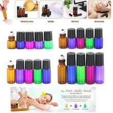 50PCS 1ML 2ML 3ML 5ML Roller Ball Essential Oil Glass Bottle Mixcolor Sample Bottles Perfume Aromatherapy