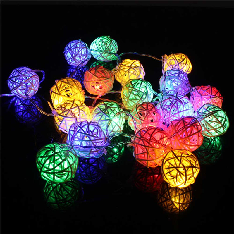 Image 5 - 2M Rattan Ball LED String Light Warm White Fairy Light Holiday Light For Party Wedding Decoration Christmas Lights Garland-in LED String from Lights & Lighting on