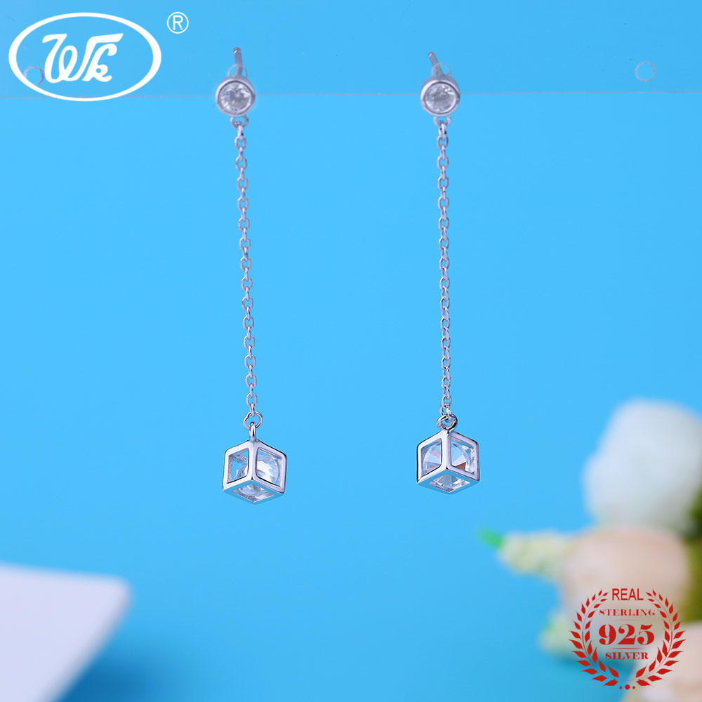WK Charm 925 Sterling Silver Earring Chain Long Line Box Locket With Zircon Crystal Cube Earrings For Women Ladies Gift OW EB034