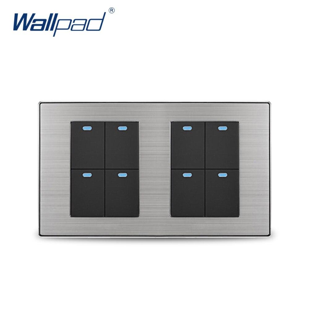 Wallpad 8 Gang 2 Way Wall Switch With LED Indicator Luxury Satin Metal Panel Wall Light Switch 10A AC110~250V 160*86mm free shipping wallpad luxury wall switch panel 6 gang 2 way switch plug socket 197 72mm 10a 110 250v