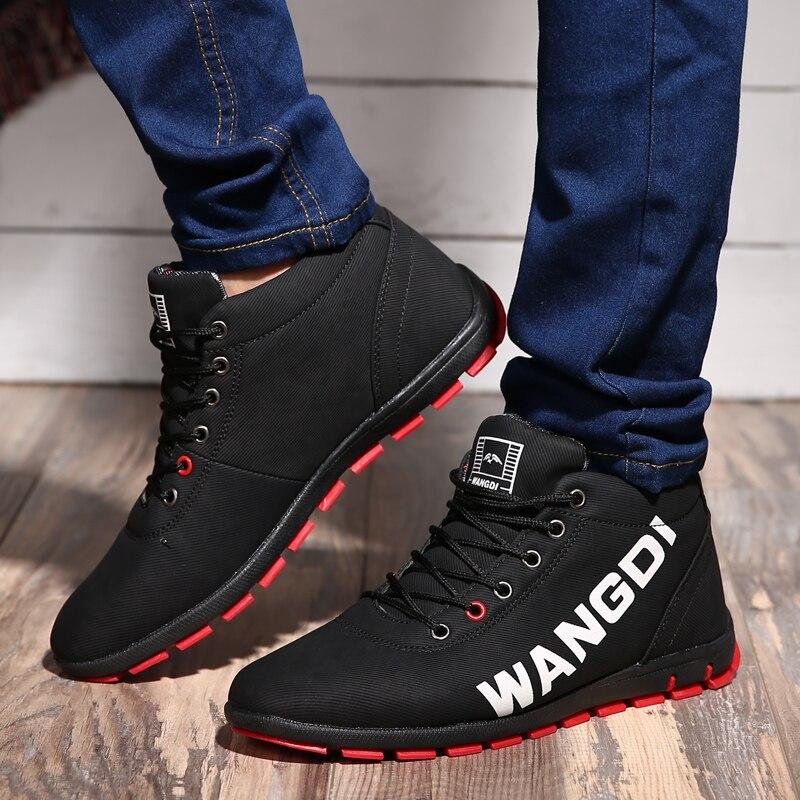Hommes bottes D'hiver botas masculina 2018 mode PU chaud Plus Le coton cheville bottes automne Hiver bottes hommes chaussures hommes Taille 39-44