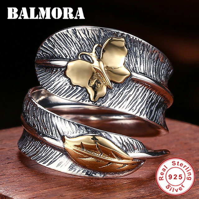 BALMORA 100% Real 925 Sterling Silver Jewelry Butterfly Feather Retro Rings for