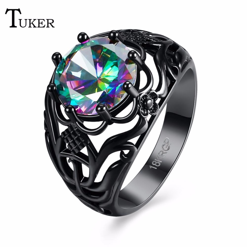 Tuker New Multi-color Opal Female Ring Round Zircon Black Gold Flower Jewelry Top Quality Wedding Rings For Women