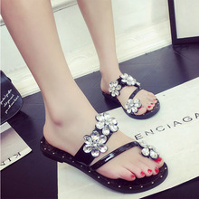 2017 spring summer flip flop females slipper sweet cute lovery slides flat with shiny crystal sea