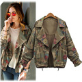 2016 New Fashion Vintage Army Green Camouflage Jacket Long Sleeve Denim Jackets Zipper Flower Print Coats Autumn Winter Clothing