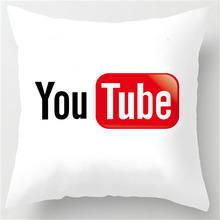 Hot Selling social media Youtube Customized Zippered Square Throw Pillowcase Zippered Pillow Sham Protector