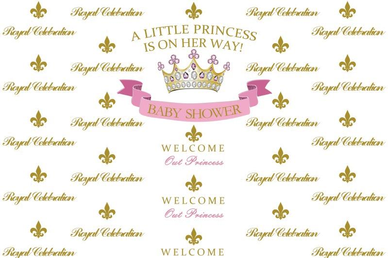 Laeacco Baby Shower Backdrops A Little Princess Is On Her Way Golden Thrown Royal Celebration Background Photocall Photo Studio shelf