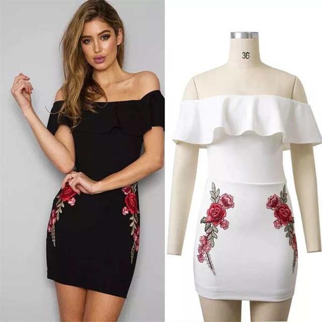 c882c7a1d464 Glamcity 2019 Strapless Embroidery Dress Women Off Shoulder Summer Dresses  Floral Vintage Cute Ruffle Flounce Dress GC6022