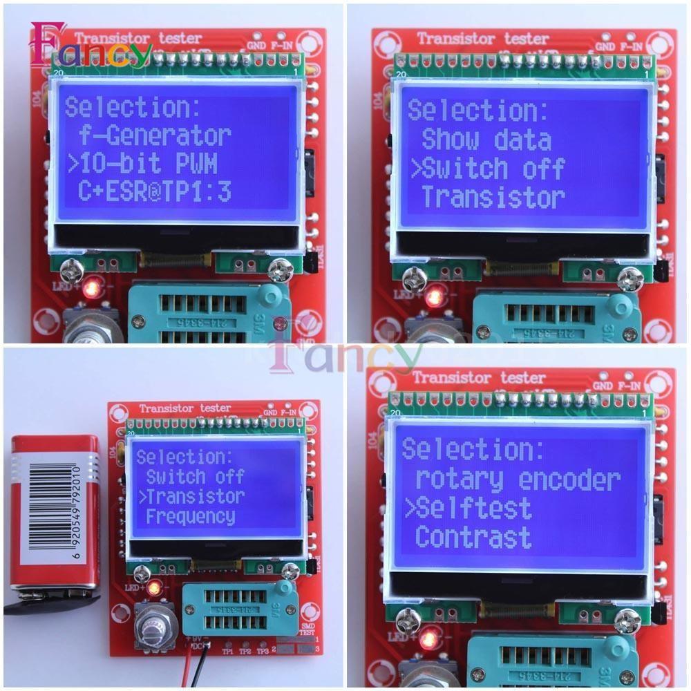 M328 LCD 12864 Transistor Tester DIY Kit Diode Triode Capacitance LCR ESR Meter free shipping factory price orignal hiland diy m12864 graphics version transistor tester kit lcr esr pwm with case