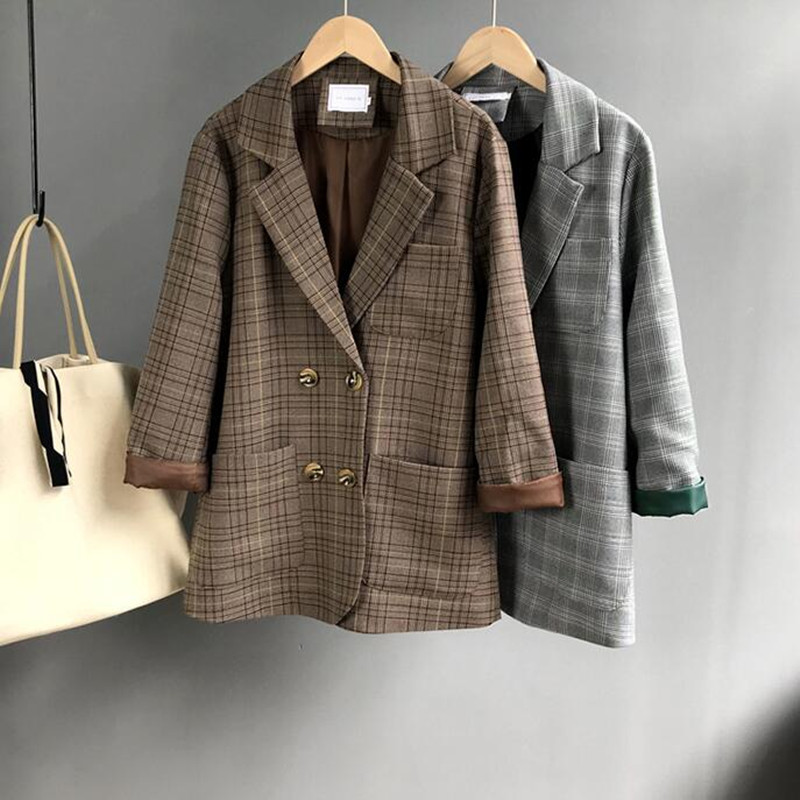 Women Plaid Blazer Long Sleeve Double Breasted Slim Checked Coat Formal Jacket