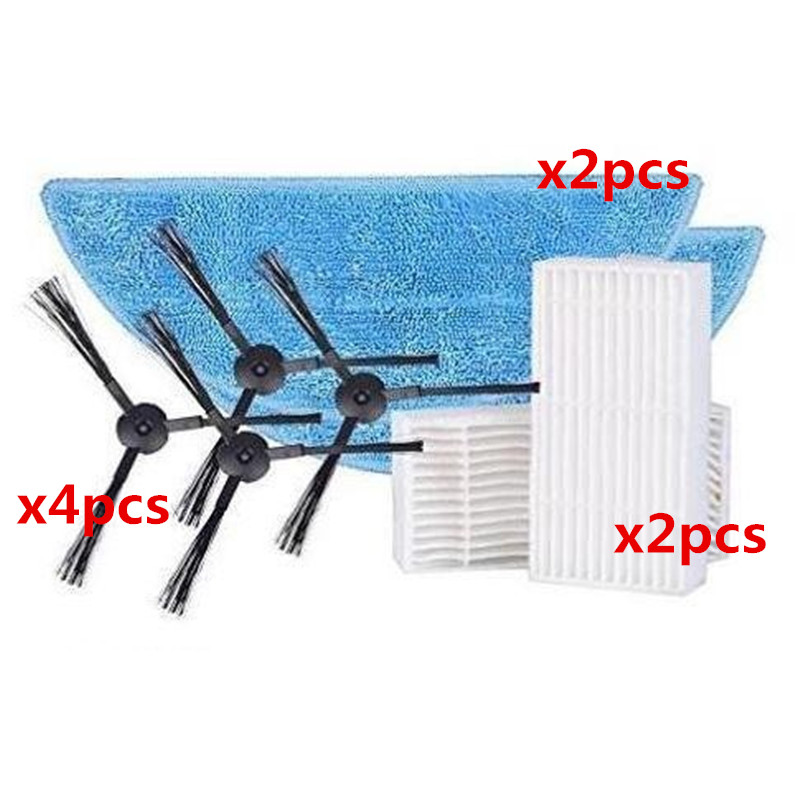 1 * Filtro + 1 * Sponge + 2 * Cepillo Lateral + 2 * Mop Paño Accesorios Para Ilife A6/x620/x623 Robot Aspirador Partes