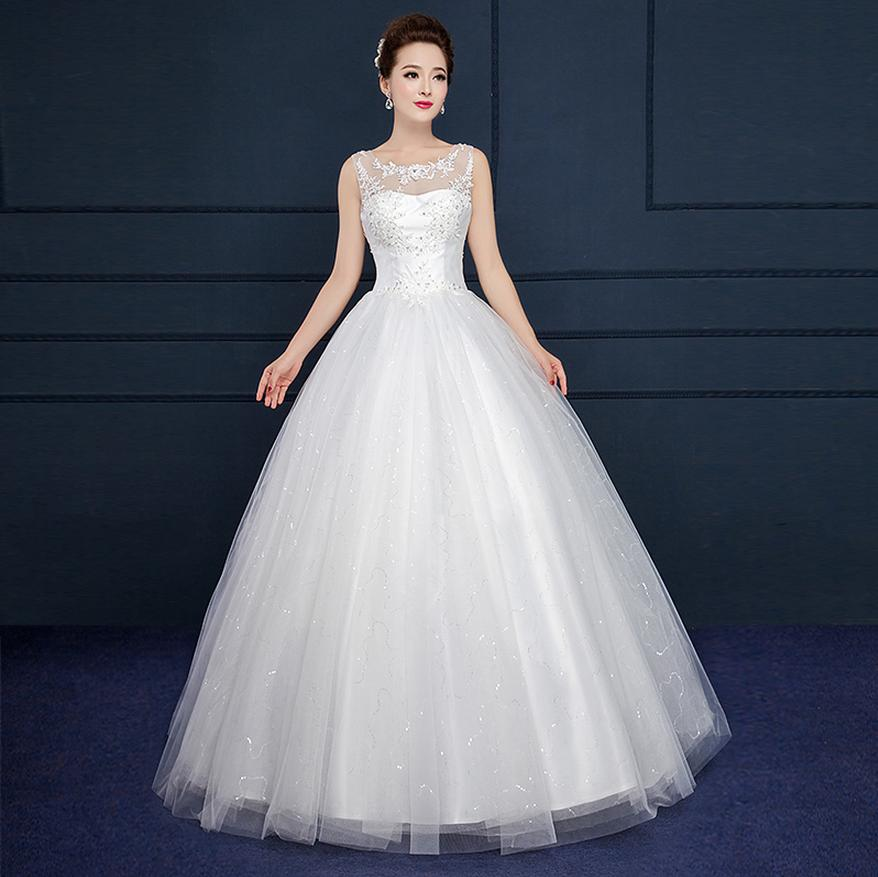 White Wedding Dress With Black Flowers: 2017 New A Line Flowers Boat Neck Tank Sleeveless White