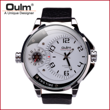 Oulm HP3706 Mens Watches Luxury Army Watch Leather Strap Wristwatches