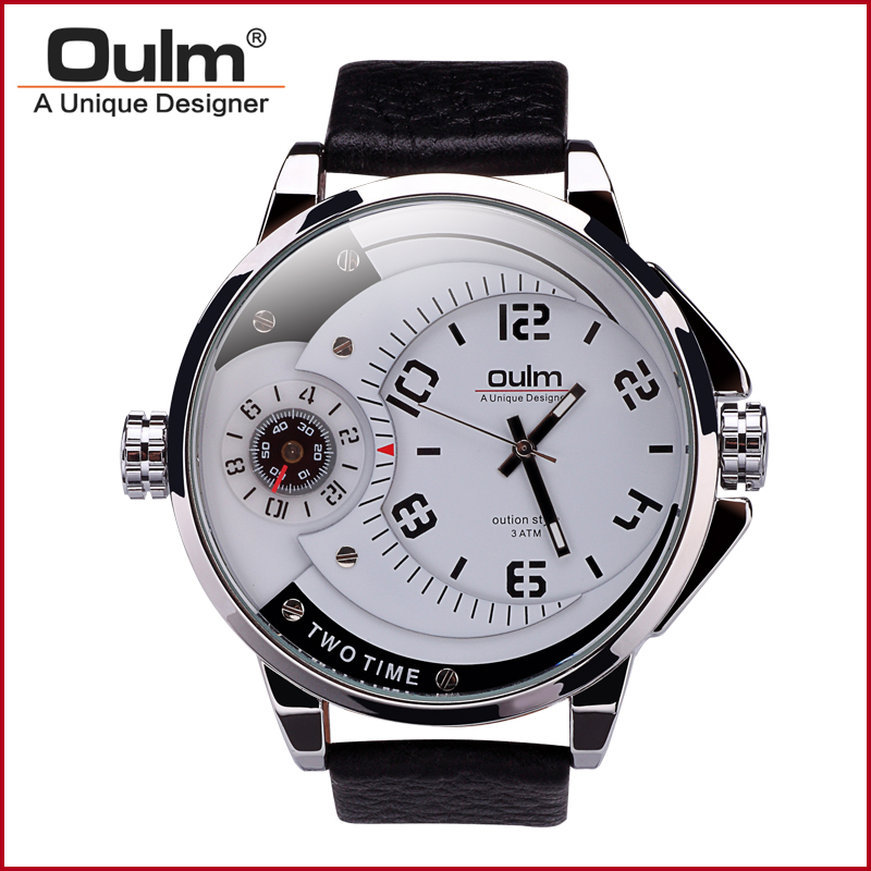 Oulm HP3706 Mens Watches Luxury Brand Army Watch Sports Leather Strap Wristwatches for male oulm brand mens rectangle leather strap hand wind mechanical watch fashion casual wristwatches with gift box relogio releges