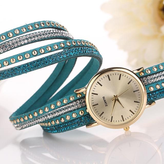 Aimecor Brand Top Luxury Ladies Watches Women PU Leather Strap Crystal Rivet Bracelet Braided Winding Wrap Quartz Watches