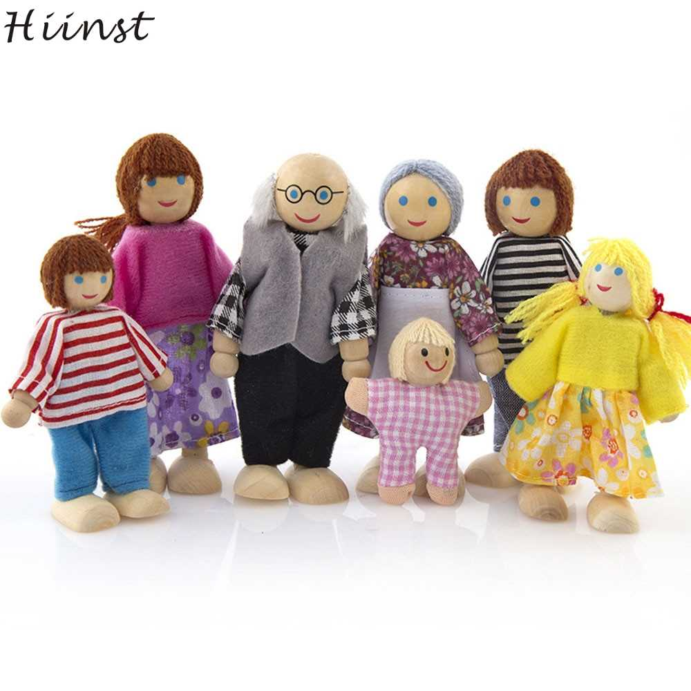 HIINST 7PCS Mini Doll New Arrival Wooden Furniture Dolls House Family Miniature 7 People Set Doll Toy For Kid Child Gifts