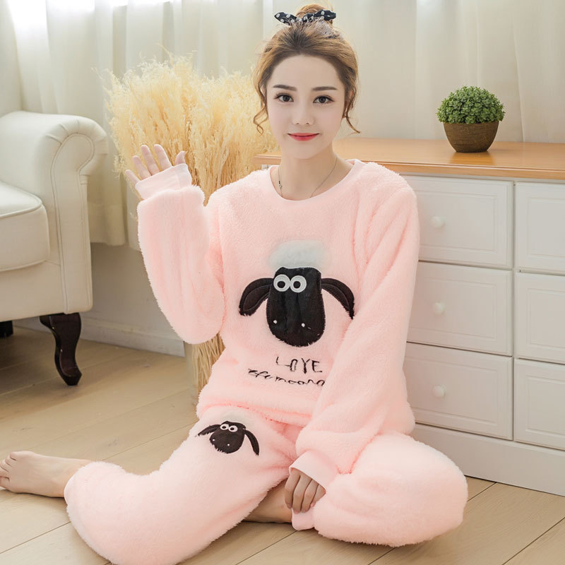 Women Winter Sweet Thickening Flannel   Pajamas     set   Lady Cartoon Pyjamas sleepwear Suit Female Home Clothing Women's   Pajamas     Sets