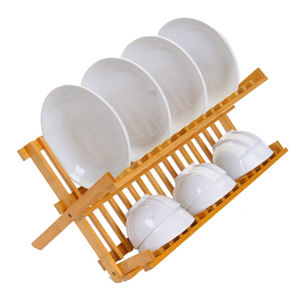 Natural Wood Dish Drying Rack Flatware Holder Plate