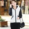 2015 Nova Moda Quente Casaco de Inverno Mulheres Grosso Polka Dot casaco de inverno mulheres Pato Médio-longo Para Baixo Parkas outerwear A024