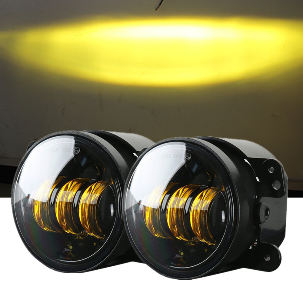 4 Inch Amber Yellow 60W LED Fog Lights For Jeep Wrangler 97-2018 JK TJ LJ Off Road Fog Lamps 4 inch 60w led fog lights white drl blue turn signal halo ring for jeep wrangler 97 17 jk tj lj off road fog lamps