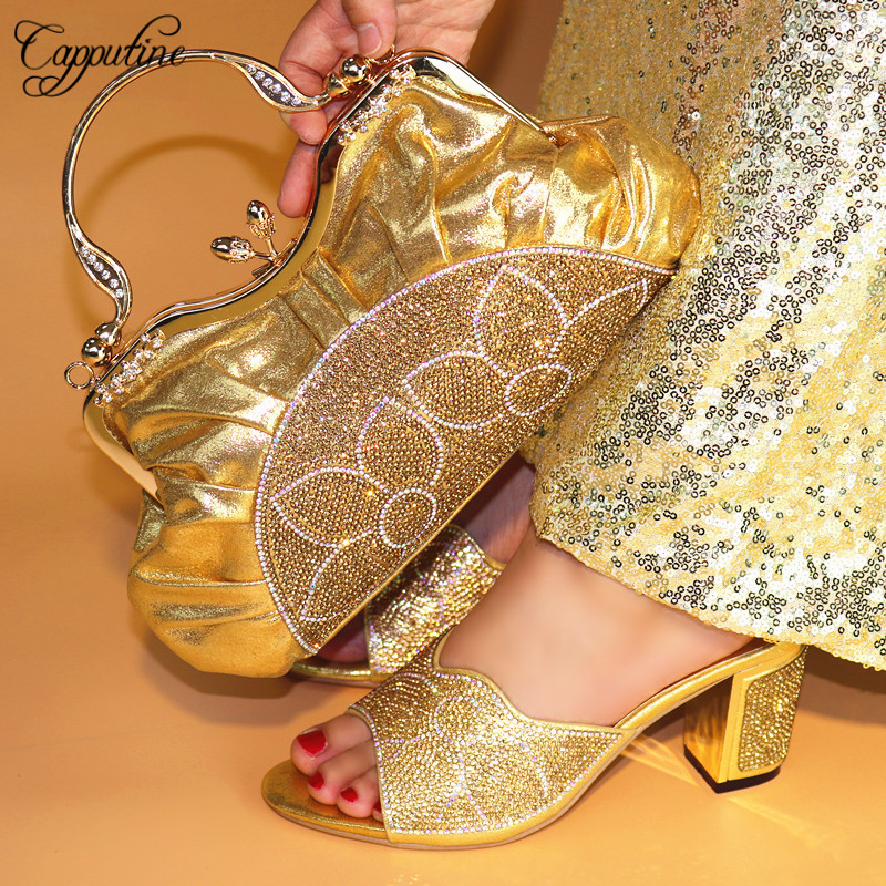 Capputine Latest Gold Color African Matching Shoes And Bags Italian In Women Nigerian Party Shoe and Bag Sets For Party TX-590 doershow italian shoe with matching bag fashion lattice pattern italy shoe and bag to match african women shoes party hjj1 34