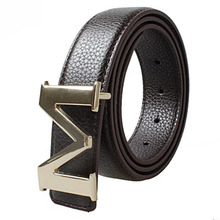 New fashion design leather belts for men Single needle buckle Smooth Body genuine strap handmade cowskin leather belts