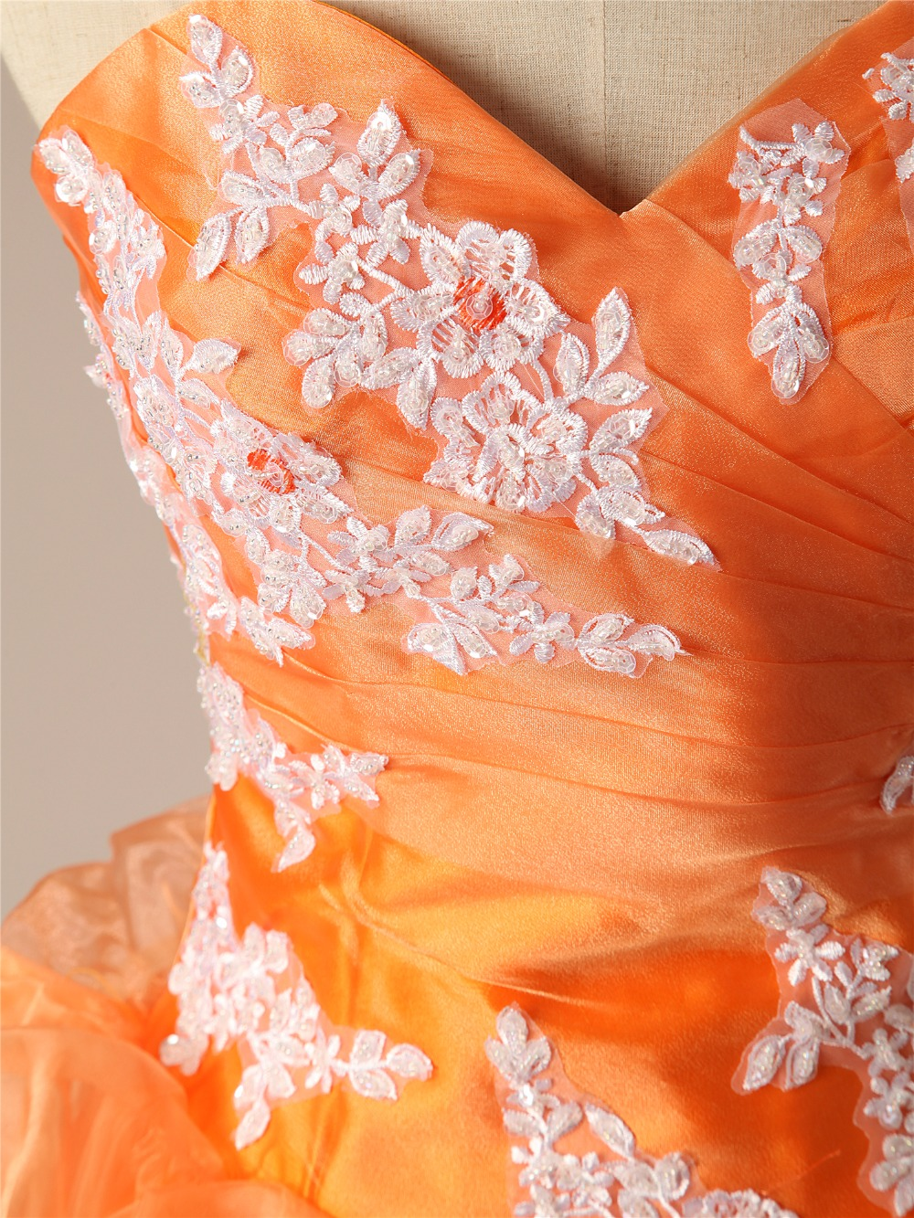 Cheap Quinceanera Dresses Orange Sweetheart Appliques Lace Vestidos De 15 Anos Ball Gown Sweet 16 Dresses Debutante Gown - 6