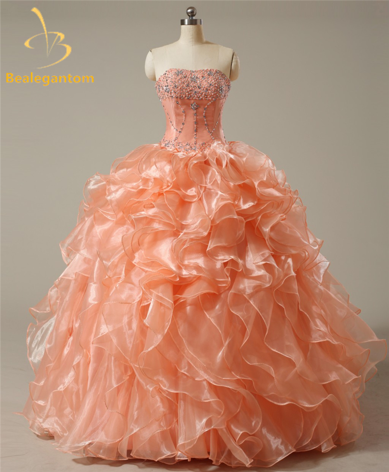Bealegantom Sexy Cheap Coral Quinceanera Dresses 2017 Ball Gown with Beaded Crystals Lace Up Sweet 16 Dresses In Stock QA968