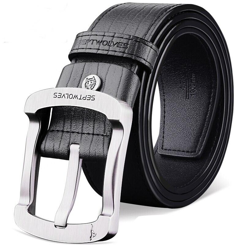 Septwolves cuero Cinturón Reversible cinturón negro para los hombres con rotación hebilla pulida 7A92023400-1