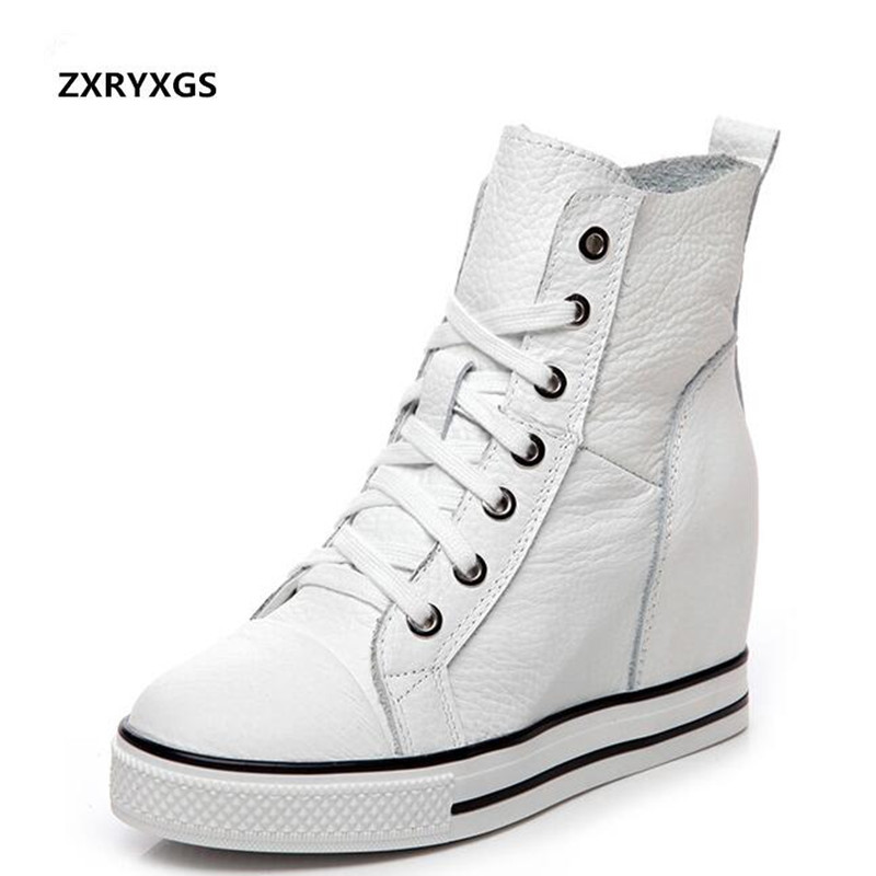 2019 Newest Spring Lace up High top Genuine Leather Shoes Women Sneakers Shoes High Heels Increase