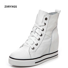 2019 Newest Spring Lace-up High-top Genuine Leather Shoes Women Sneakers Shoes High Heels Increase Within Wedges Casual Shoes