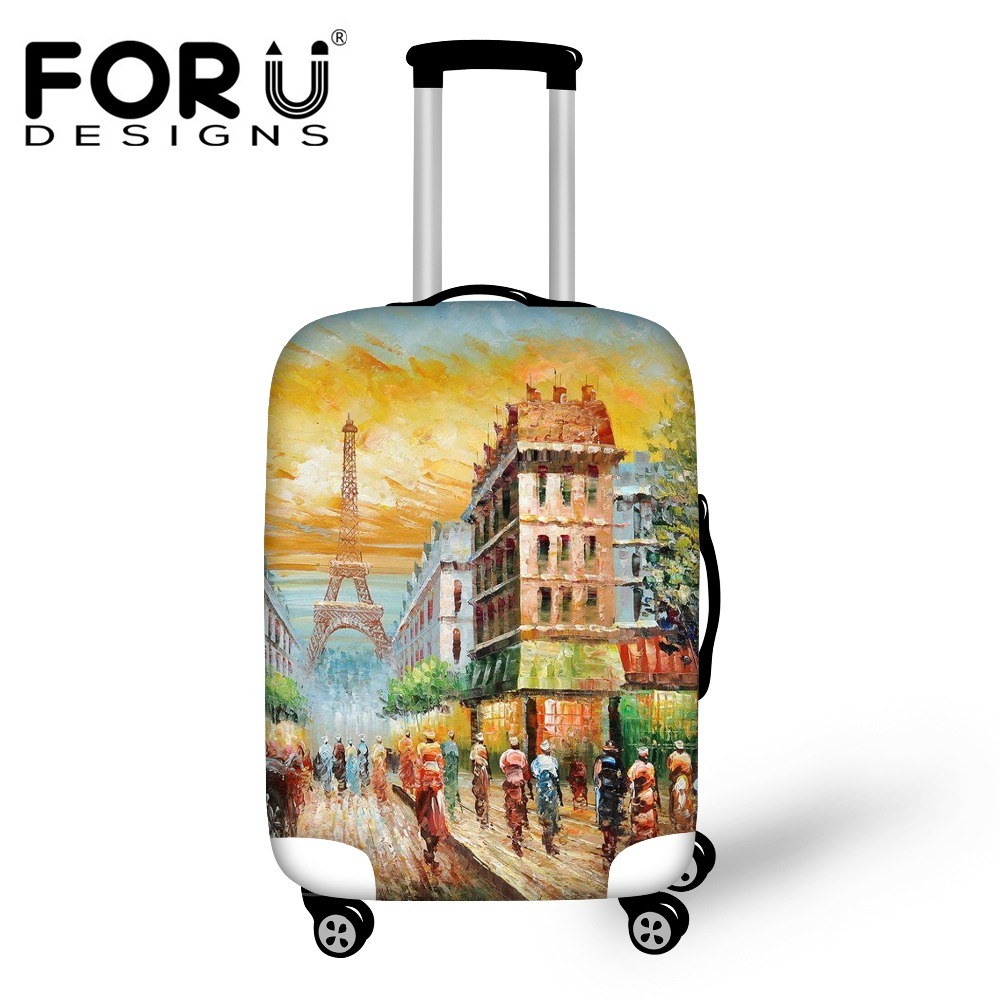 Eiffel Tower Painting Rain Cover for Luggage Suitcase Thick Stretch Waterproof Cover Apply to 18-30 inch Trolley Cases