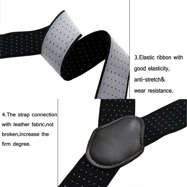 c733740f1 AWAY Leather Male Suspenders Fashion Adult Red Wine 4 Clips Elastic Straps  for Jane  Pants